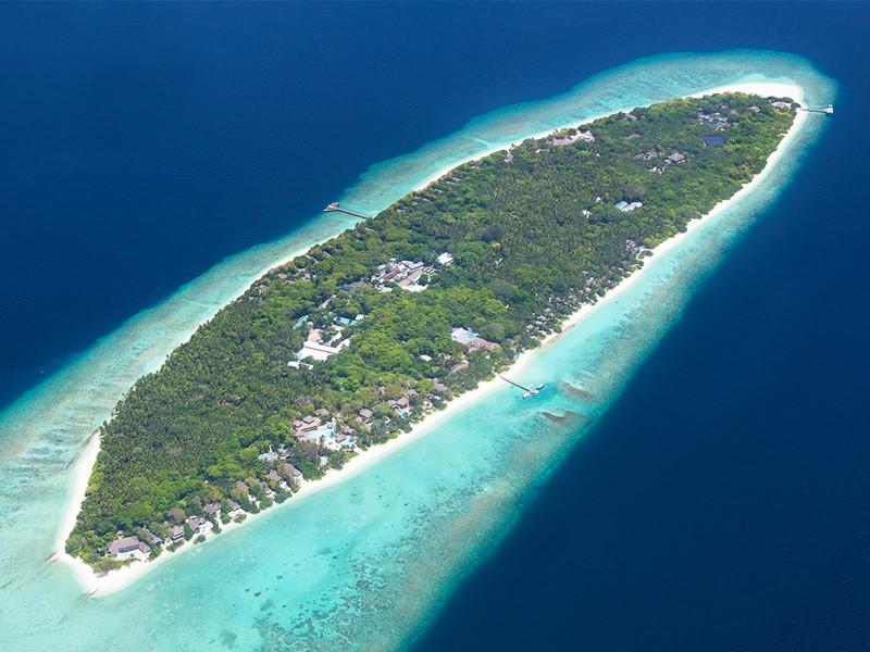 Vue aérienne du Soneva Fushi, éco-resort extraordinaire, aux Maldives
