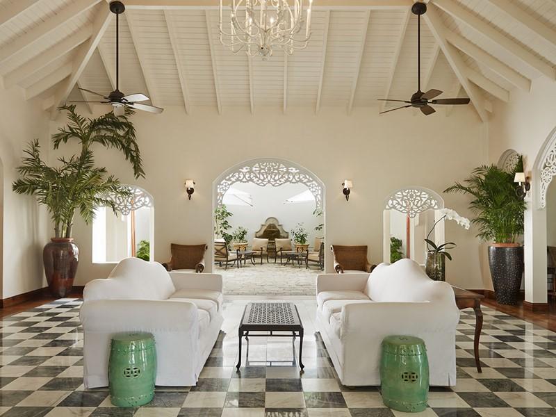 La réception du Sugar Beach situé aux Antilles