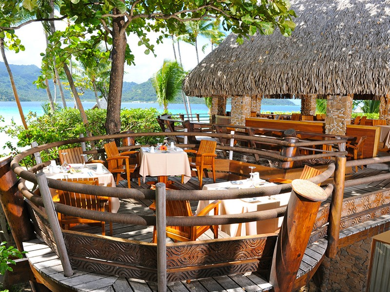 Le restaurant de l'hôtel Tahaa Island Resort en Polynésie
