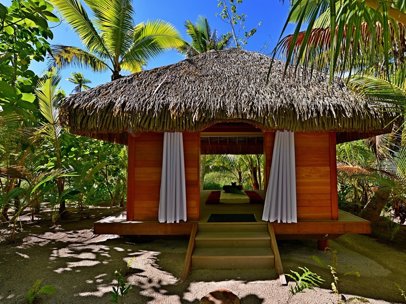 Cabine de massage de l'hôtel The Brando en Polynésie