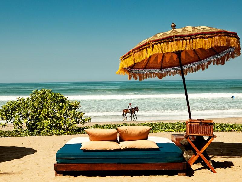 La plage de Seminyak de l'hôtel The Oberoi