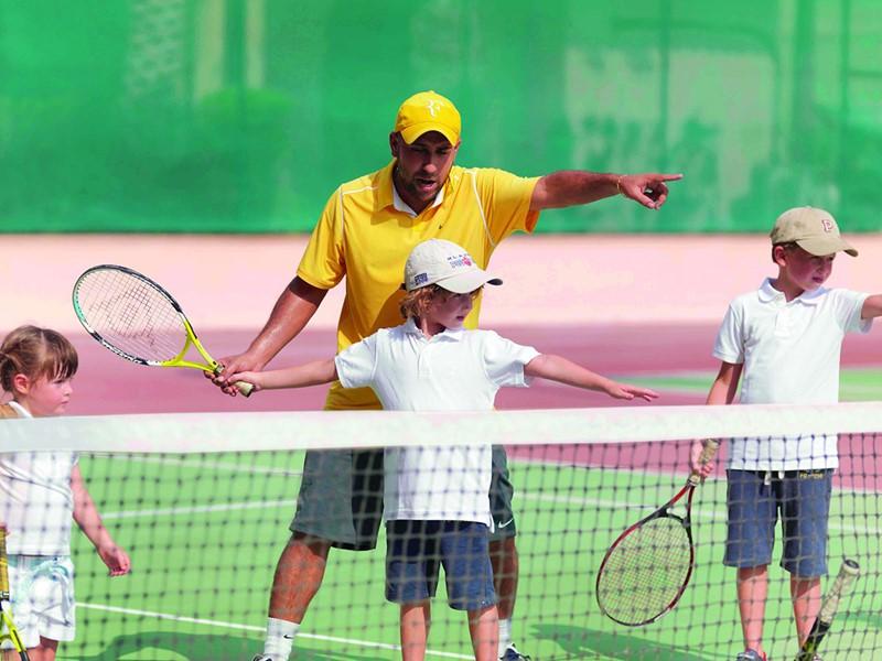 Le court de tennis de l'hôtel Ritz Carlton à Dubai