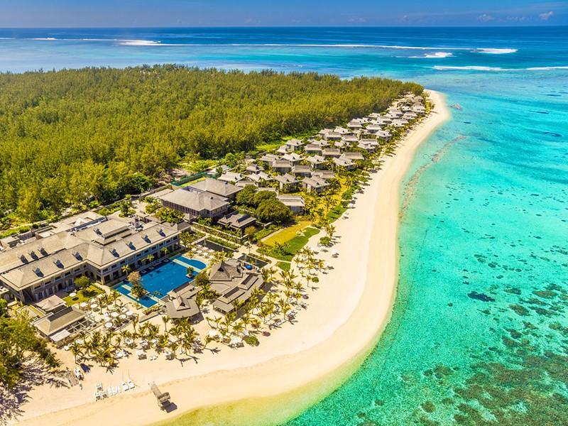 Vue aérienne de l'hôtel The St Regis Mauritius