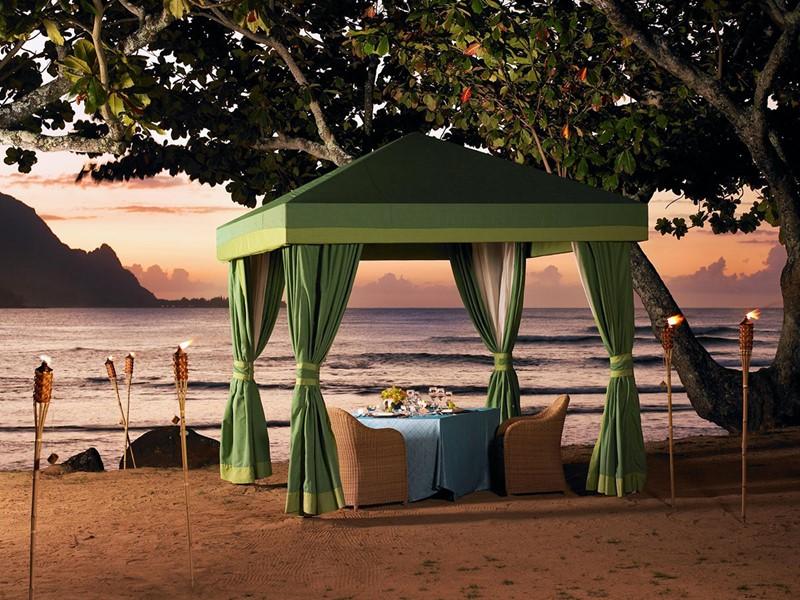 Dîner romantique sur la plage du Princeville Resort Kauai