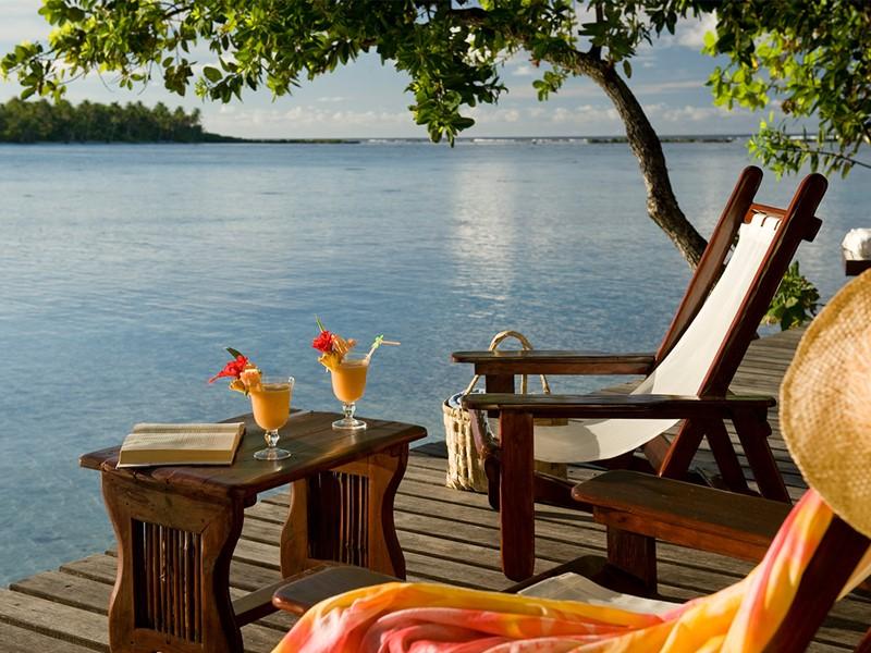 La terrasse d'une Suite de l'hôtel Vahine Island en Polynésie