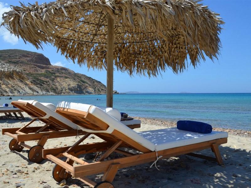 La plage de l'hôtel Villa Marandi à Naxos en Grece