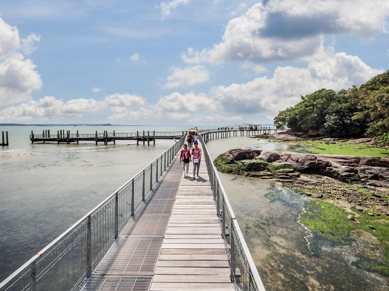 Vous pourrez vous promenez sur la passerelle de l'île d'Ubin