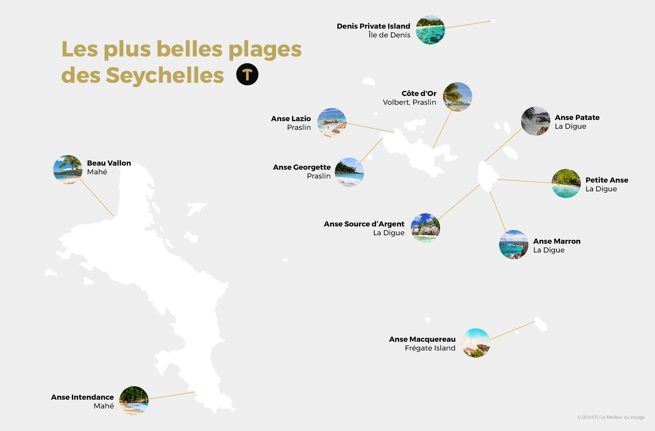 Carte des plus belles plages des Seychelles