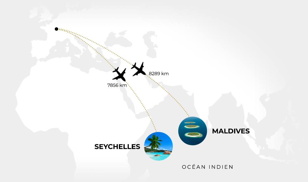 Carte distance Paris Seychelles et Maldives